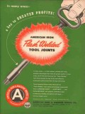 American Iron Machine Works 1953 Vintage Ad Oil Flash Weld Tool Joints