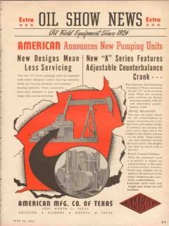 American Mfg Company TX 1953 Vintage Ad Oil Announcing New Pump Units