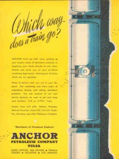 Anchor Petroleum Company 1953 Vintage Ad Oil Which Way Train Go Butane