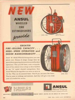 Ansul Chemical Company 1953 Vintage Ad Wheeled Fire Extinguishers