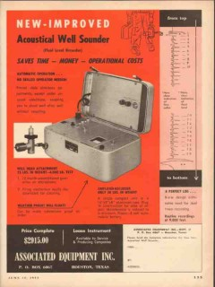 Associated Equipment Inc 1953 Vintage Ad Oil Acoustical Well Sounder