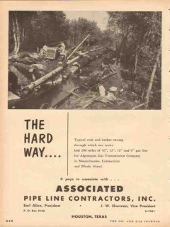 Associated Pipe Line Contractors 1953 Vintage Ad Algonquin Gas Swamp