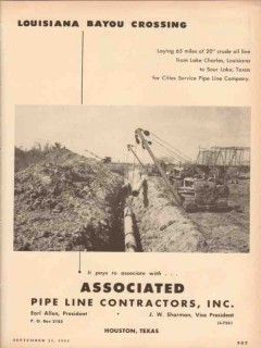 Associated Pipe Line Contractors 1953 Vintage Ad Oil LA Bayou Crossing