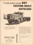 autocar company 1953 handle payloads custom built trucks vintage ad