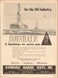 Avondale Marine Ways 1953 Vintage Ad Gas Oil Industry Facilities Serve