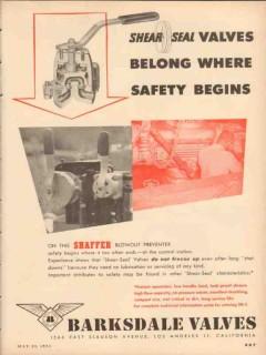 Barksdale Valves 1953 Vintage Ad Oil Shear-Seal Belong Safety Begins