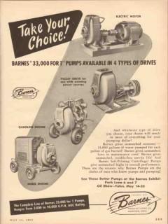 Barnes Mfg Company 1953 Vintage Ad Oil Choice Pumps Available