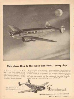 beech aircraft corp 1953 airplane flies moon back every day vintage ad
