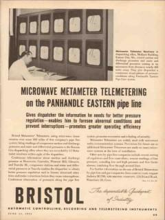 Bristol Company 1953 Vintage Ad Oil Microwave Telemeter Panhandle East