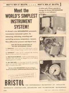 Bristol Company 1953 Vintage Ad Oil World Simplest Instrument System