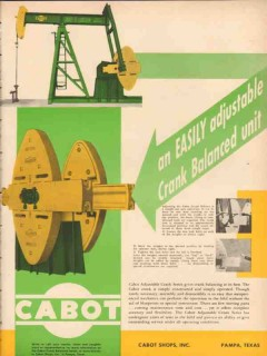 Cabot Shops Inc 1953 Vintage Ad Oil Crank Balanced Unit Adjustable