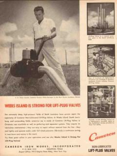 Cameron Iron Works 1953 Vintage Ad Oil FH Ham Isaacks Lift-Plug Valves