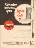 Cardinal Chemical Inc 1953 Vintage Ad Nocor Corrosion Increases Costs
