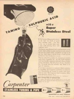 carpenter steel company 1953 taming sulfuric acid stainless vintage ad