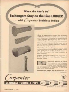 Carpenter Steel Company 1953 Vintage Ad Exchangers Stay On-Line Longer
