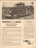 chevrolet 1953 advance design trucks famous saving ways vintage ad