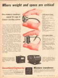 Consolidated Engineering Corp 1953 Vintage Ad Miniature Transducers