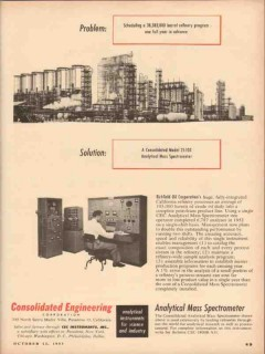 Consolidated Engineering Corp 1953 Vintage Ad Oil Mass Spectrometer
