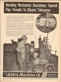 Landis Machine Company 1953 Vintage Ad Tapered Pipe Threads Tolerances