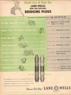 Lane-Wells Company 1953 Vintage Ad Oil Field Wire-Line Bridging Plugs