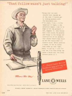 Lane-Wells Company 1953 Vintage Ad Oil Field Packers Service Talking