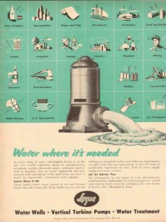 Layne Bowler Inc 1953 Vintage Ad Oil Field Water Well Pumps Needed