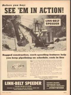 Link-Belt Speeder Corp 1953 Vintage Ad TL MK Construction Ft Worth TX