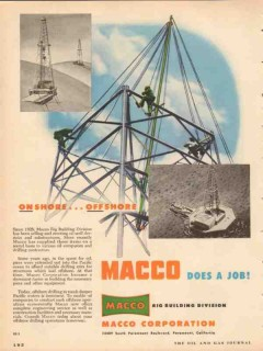 MACCO Corp 1953 Vintage Ad Oil Rig Building Onshore Offshore Job