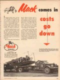 mack trucks 1953 heard rufugio tx comes in costs go down vintage ad