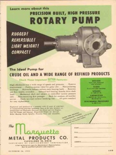 Marquette Metal Products Company 1953 Vintage Ad Rugged Rotary Pump