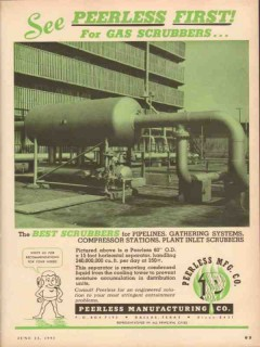 Peerless Mfg Company 1953 Vintage Ad Oil First Gas Scrubber Pipeline