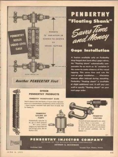 Penberthy Injector Company 1953 Vintage Ad Oil Floating Shank Time