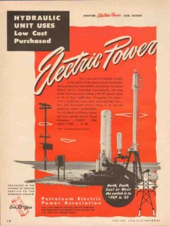 Petroleum Electric Power Assoc 1953 Vintage Ad Hydraulic Unit Low Cost