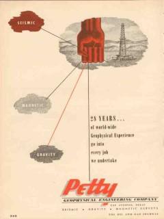 Petty Geophysical Engineering Company 1953 Vintage Ad Years World-Wide