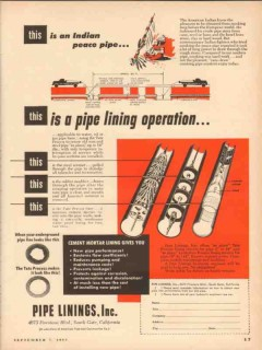 American Pipe Construction Company 1953 Vintage Ad Indian Linings Inc