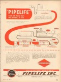 Pipelife Inc 1953 Vintage Ad Oil Cleans Plastic Coats Line Internally