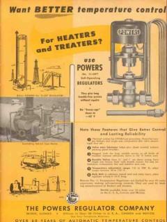 Powers Regulator Company 1953 Vintage Ad Better Temperature Control