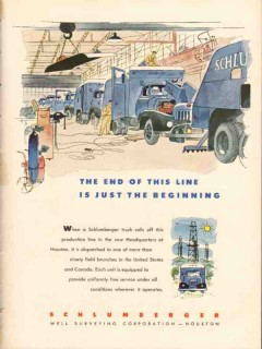 Schlumberger Well Surveying Corp 1953 Vintage Ad Oil Field Truck Line
