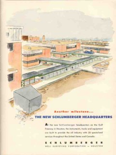 Schlumberger Well Surveying Corp 1953 Vintage Ad Oil New Headquarters