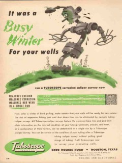 Tuboscope Company 1953 Vintage Ad Oil Corrosion Survey Busy Winter