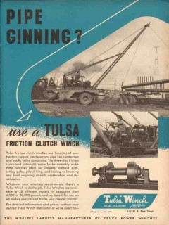 Tulsa Winch Mfg Company 1953 Vintage Ad Pipe Ginning Friction Clutch
