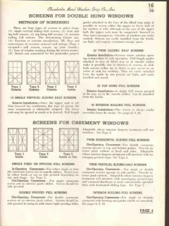 Chamberlin Metal Weather Strip Company 1938 Vintage Catalog Screens