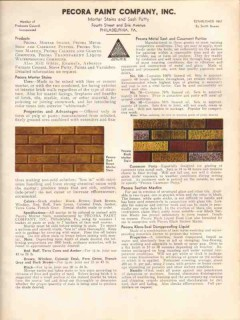 Pecora Paint Company 1938 Vintage Catalog Mortar Stains Putty Calking