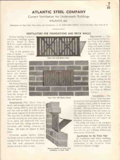 Atlantic Steel Company 1938 Vintage Catalog Brick Wall Ventilation