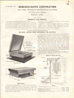 Babcock-Davis Corp 1938 Vintage Catalog Roof Hatchway Easy Access