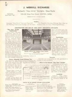 J Merrill Richards 1938 Vintage Catalog Skylights Glass Roof New Unity