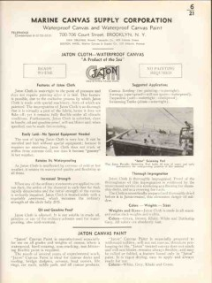 Marine Canvas Supply Corp 1938 Vintage Catalog Waterproof Jaton Cloth