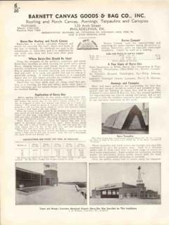 Barnett Canvas Goods Bag Company 1938 Vintage Catalog Roofing Awnings
