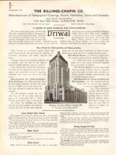 Billings-Chapin Company 1938 Vintage Catalog Paint Damp-Proof Coatings
