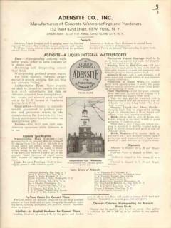 Adensite Company 1938 Vintage Catalog Waterproofing Concrete Hardeners